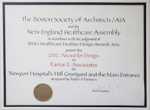 Boston AIA and New England Healthcare Assembly 2002 Award for Design to Farrar Assoc