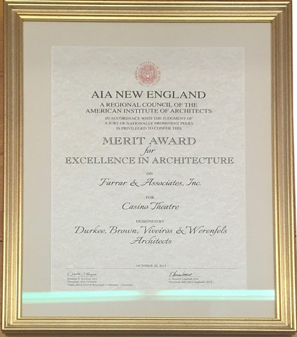 AIA New England Merit Award for Excellence in Architecture to Farrar Assoc